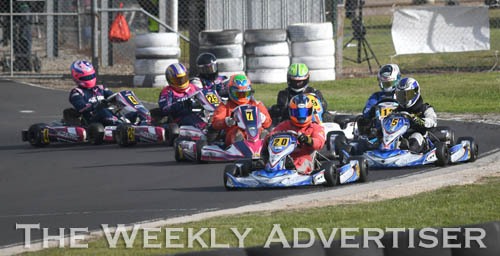 Image - Remo Luciani, #20, leads the KA3 senior medium class.Round four of the Victorian Country Series at Wimmera Kart Club  at Dooen.