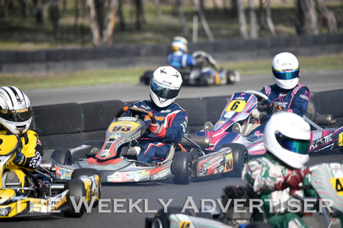 Image - Brayden Souter, #93, Horsham, in KA3 senior light.Round four of the Victorian Country Series at Wimmera Kart Club  at Dooen.