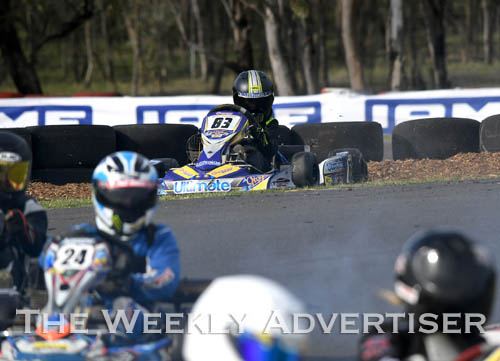 Image - Harrison Campbell, #83, spins out.Round four of the Victorian Country Series at Wimmera Kart Club  at Dooen.