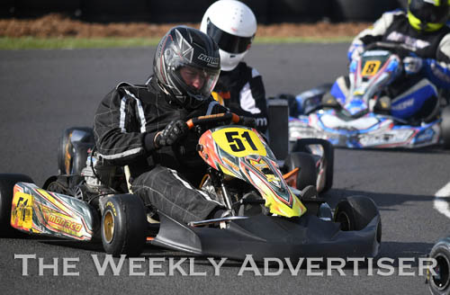 Image - Andrew Harvey, #51, in TAG 125 restricted heavy.Round four of the Victorian Country Series at Wimmera Kart Club  at Dooen.