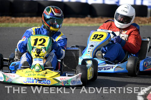 Image - Steven Malkin, #12, and Ronald Taylor, #92, in TAG 125 restricted masters. Round four of the Victorian Country Series at Wimmera Kart Club  at Dooen.