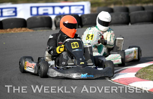 Image - Andrew Rae and Maverick Benson in TAG 125 light at Round four of the Victorian Country Series at Wimmera Kart Club  at Dooen.