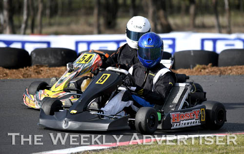 Image - Jordan Rae, #9, and Jordan Pianezzola, #54, in TAG 125 Light class at Round four of the Victorian Country Series at Wimmera Kart Club  at Dooen.