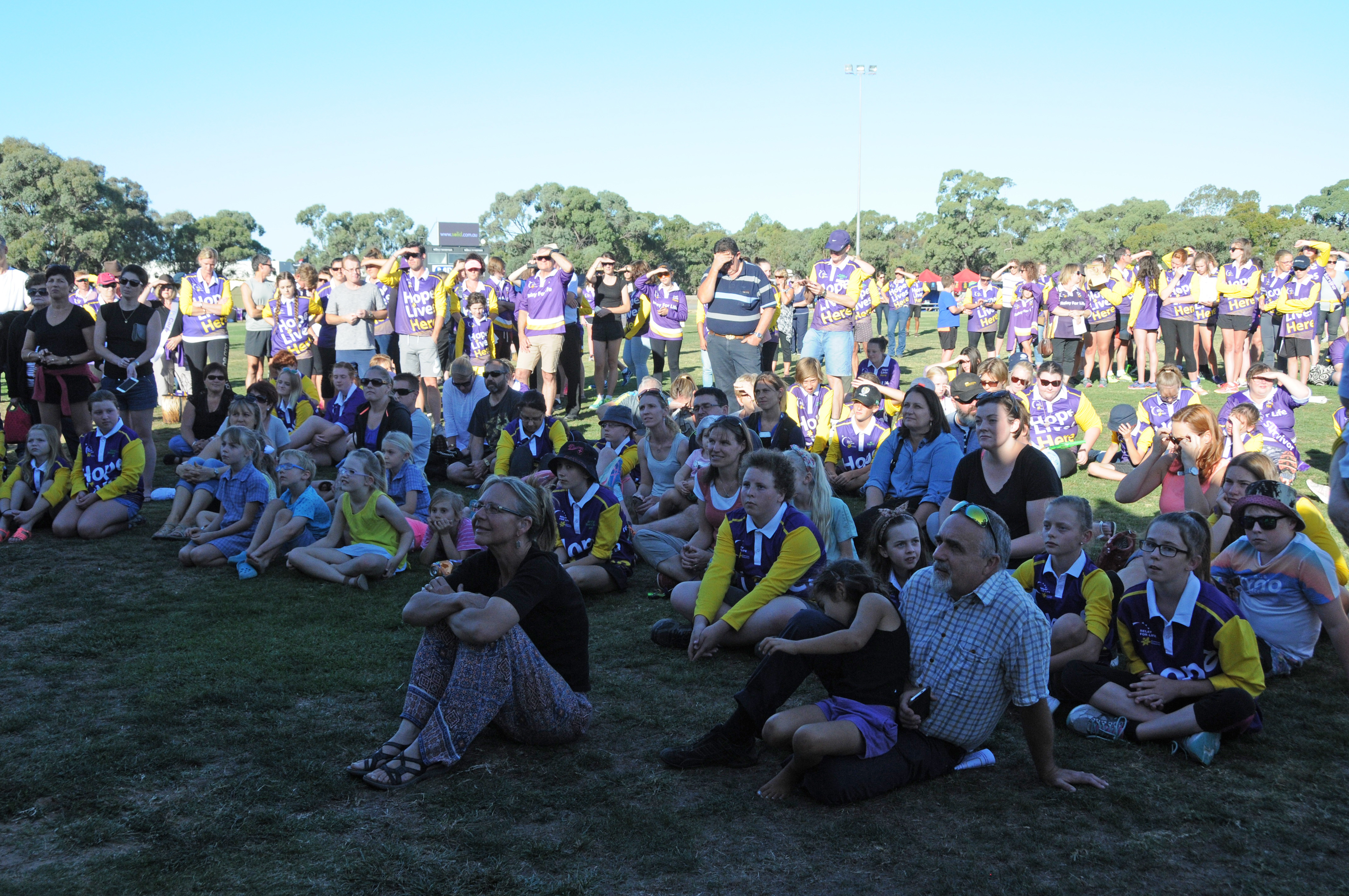 Image - Horsham and District Relay for Life, 170317. The crowd watches the opening proceedings.