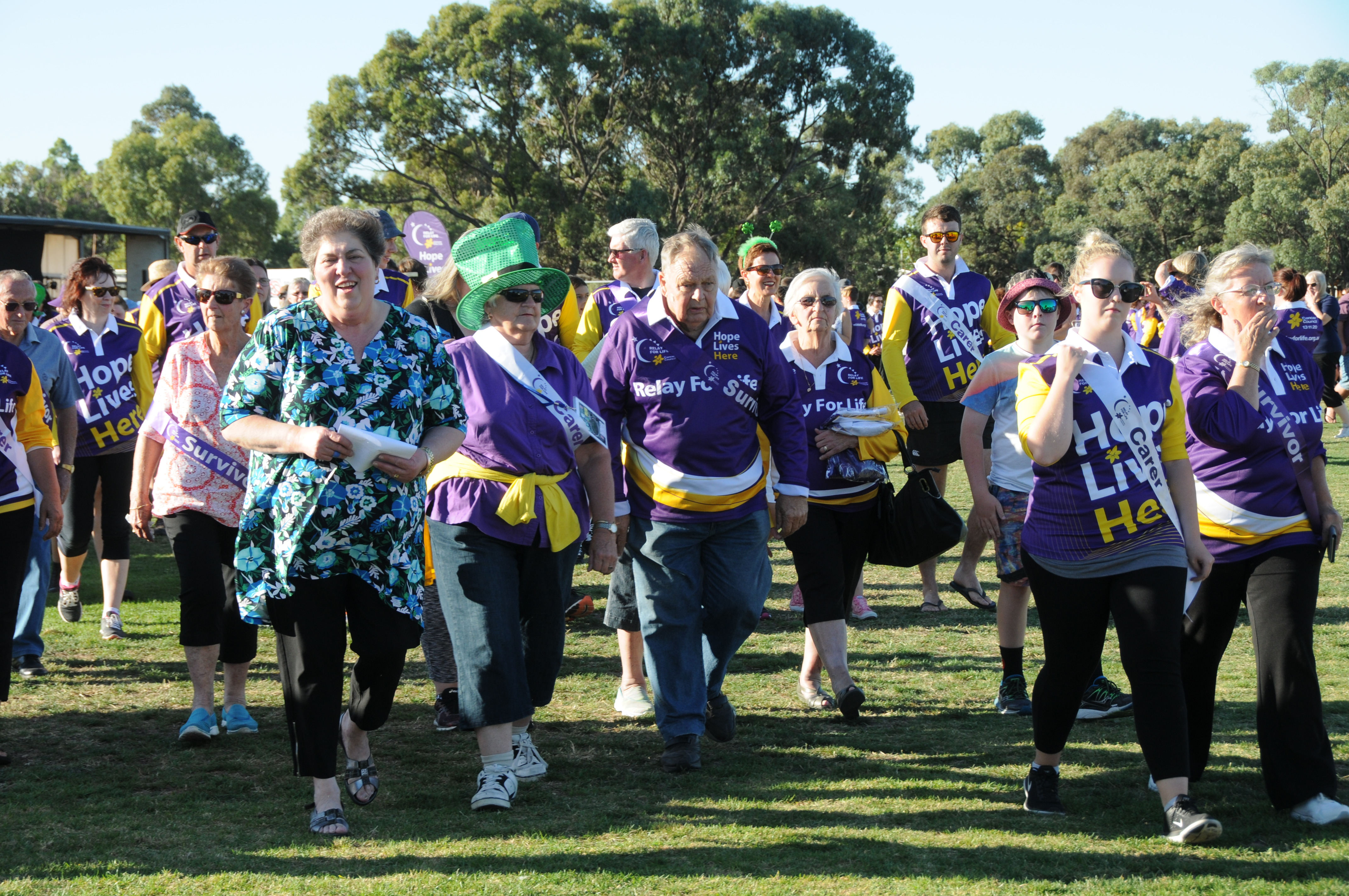 Image - Horsham and District Relay for Life, 170317. Survivors and carers walked the first lap before other participants joined in.